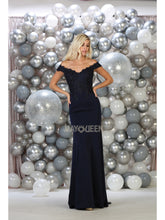 Mayqueen Size Chart E MQ 1675 - Embroidered Fit & Flare Off-the-Shoulder & Train Adorned with Lace Insert - Diggz Prom