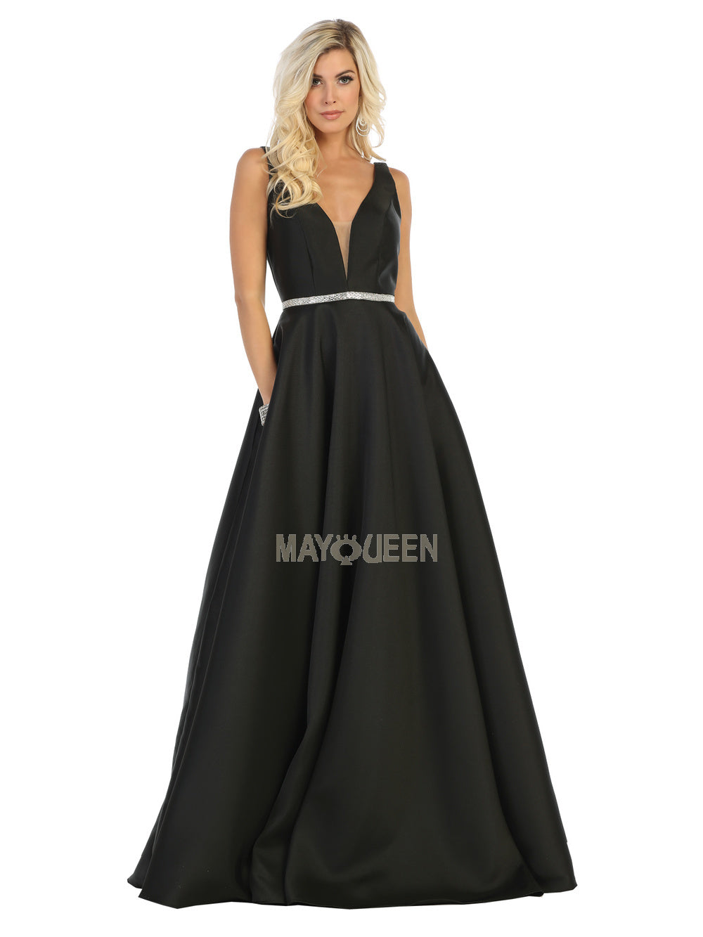 Mayqueen Size Chart E MQ 1683 - A-Line with Deep-V Neckline Jeweled Belt & Pockets - Diggz Prom
