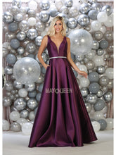 MQ 1683 - Satin A-Line Prom Gown with Deep-V Neck Jeweled Belt & Pockets - Diggz Prom