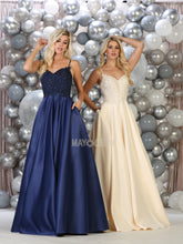 Mayqueen Size Chart E MQ 1685 - Embroidered A-Line with Spaghetti Straps & Pockets - Diggz Prom