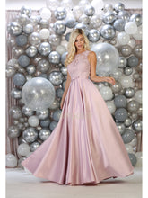 Mayqueen Size Chart E MQ 1688 - A-Line Lace Bodice Satin Ball Gown with Pockets - Diggz Prom
