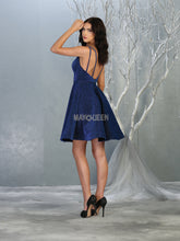 MQ 1697 - Glitter Homecoming Dress with Deep V Neckline and Beaded Belt