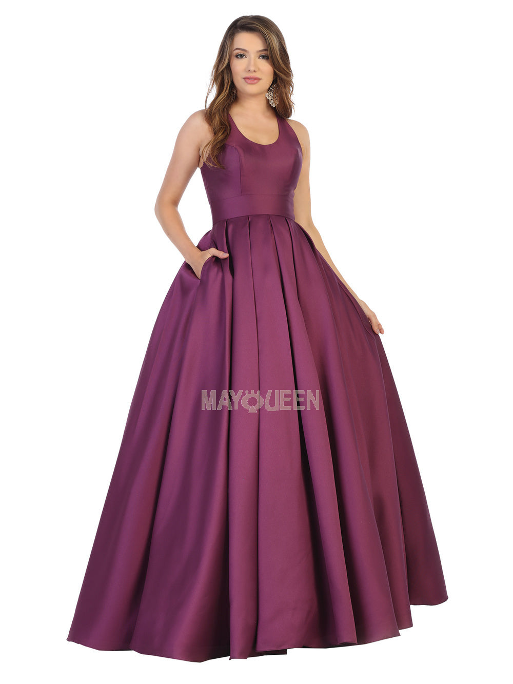 Mayqueen Size Chart E MQ 1721 - Satin Ball Gown with Scoop Neckline, Keyhole Back, and Pockets - Diggz Prom