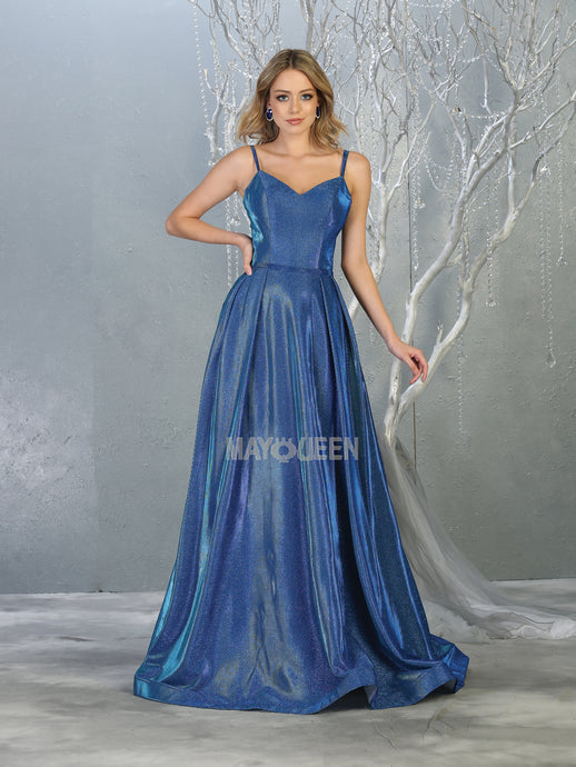 Mayqueen Size Chart E MQ 1731 - Sparkly A-Line Formal Gown with Pockets and Double Strapped Back - Diggz Prom