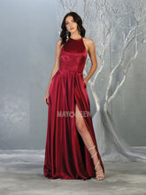 MQ 1733 - Satin A-Line Prom Gown with Halter Neck Open Lace Up Corset Back & Leg Slit - Diggz Prom