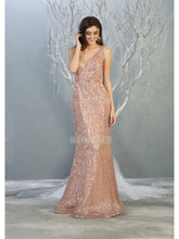 Mayqueen Size Chart E MQ 1745 - Fit & Flare Sequin Gown with Deep-V Neckline and Beaded Belt - Diggz Prom
