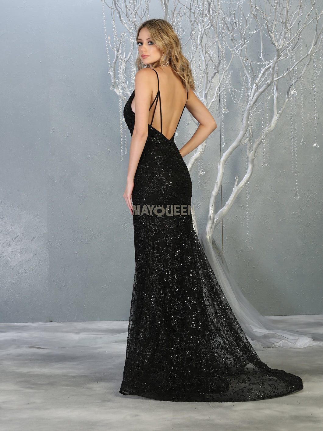 Mayqueen Size Chart E MQ 1752 - A-Line Fit and Flare Glitter Gown with Deep V Neck and Strappy Back - Diggz Prom
