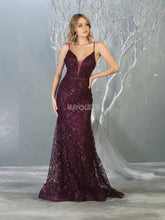 MQ 1752 - Glittery Fit & Flare Prom Gown with Spaghetti Straps V Neck and Open Back