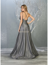 Mayqueen Size Chart E MQ 1756 A-Line Glitter Formal Gown with Deep V-Neck, Strappy Back and Pockets - Diggz Prom