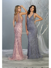 MQ 1758 - Bead & Applique Embellished Fit & Flare Prom Gown with Deep V-Neck Low Open Back & Beaded Belt - Diggz Prom