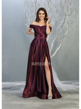 Mayqueen Size Chart E MQ 1781 - A-Line Off the Shoulder Satin Gown with Pockets and High Leg Slit - Diggz Prom