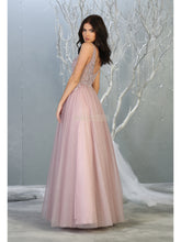 MQ 1786 - A-Line Prom Gown with Bead Embroidered Illusion V-Neck Bodice & Glitter Tulle Skirt - Diggz Prom