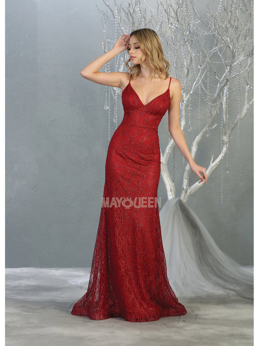 MQ 1790 - Fit and Flare Prom Gown with Full Glitter Design & V Neckline