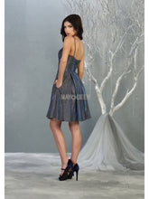MQ 1791 - Metallic Homecoming Dress with Sweetheart Neck Pockets & Corset Back