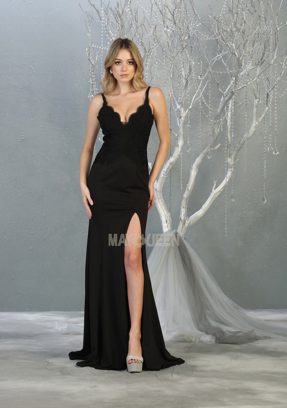 MQ 1792 - Fitted Prom Gown with Lace Embroidered Bodice and High Leg Slit - Diggz Prom
