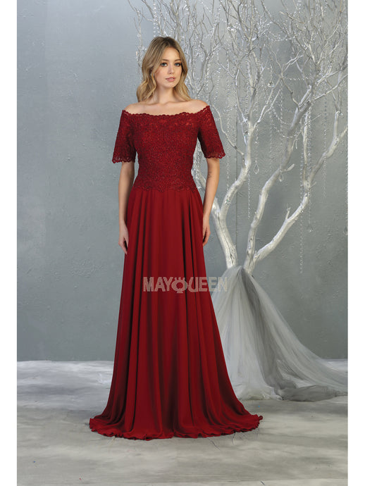 MQ 1793 - Off the Shoulder Prom Gown with Lace Embroidered Bodice & Sleeves