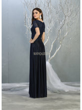 MQ 1794 - A Line Prom Gown with Lace Embroidered Bodice and Quarter Sleeves