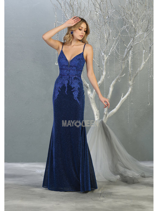 Mayqueen Size Chart E MQ 1796 - A-Line Fit and Flare Gown with Beaded Lace Bodice and Glitter Bottom - Diggz Prom