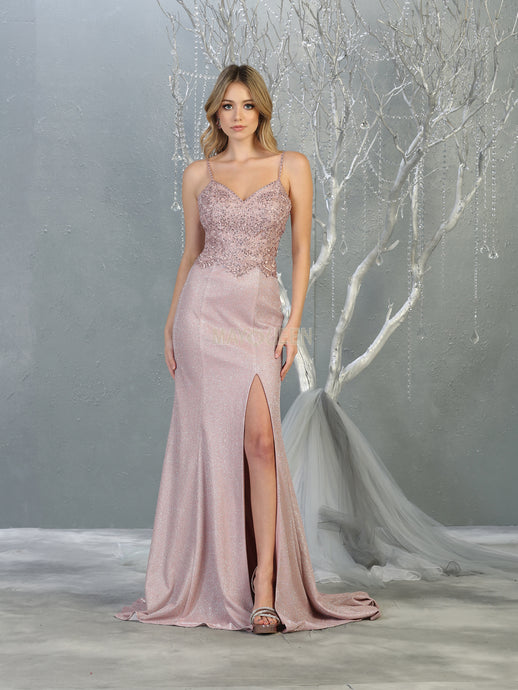 MQ 1801 - Fitted Prom Gown with Beaded Embroidered Bodice & High Leg Slit