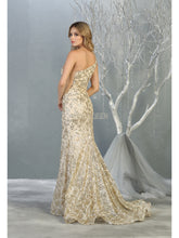 MQ 1804 - Fit and Flare Prom Gown with Glitter Design & One Side Strap - Diggz Prom