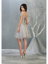 MQ 1809 - Off the Shoulder Tulle Homecoming Dress with Embroidered Lace Bodice & Corset Back