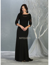 MQ 1810 - A Line Prom Gown with Lace Bodice & Lace Sleeves