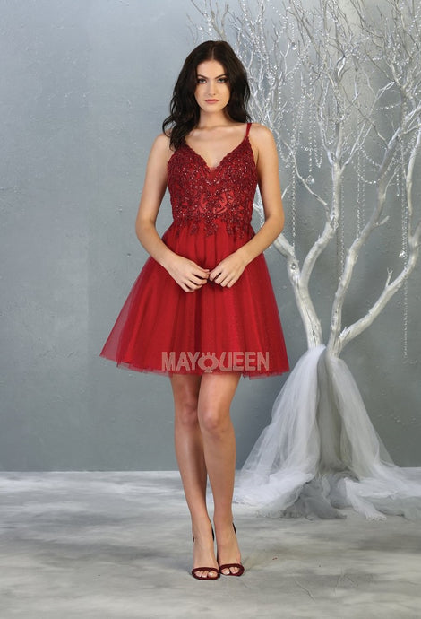 MQ 1813 - Tulle Homecoming Dress with Sheer Lace Embroidered Bodice