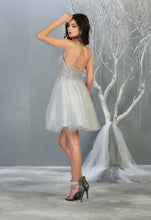 MQ 1813 - A-Line Homecoming Dress with Sheer Lace Embroidered Bodice & Layered Shimmering Tulle Skirt