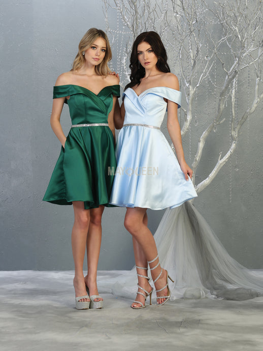 MQ 1815 - Off the Shoulder Homecoming Dress with Beaded Belt and Pockets