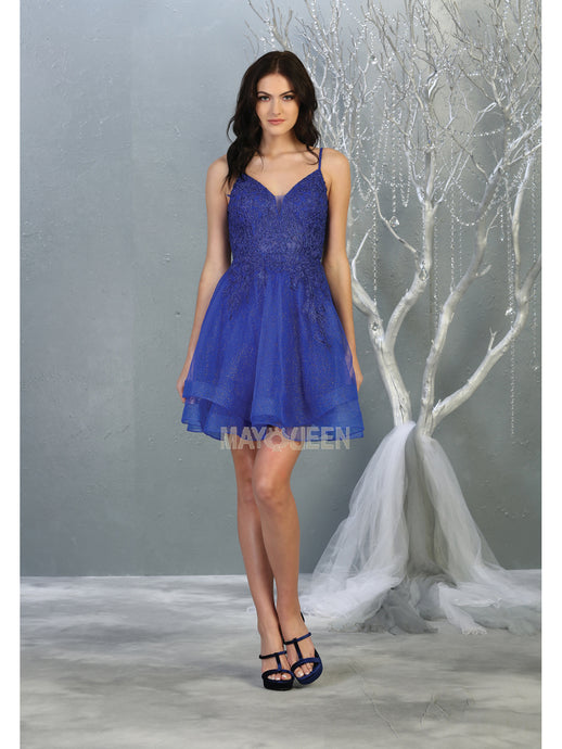 MQ 1816 - Embroidered Homecoming Dress with V-Neck Open Back & Tulle Skirt