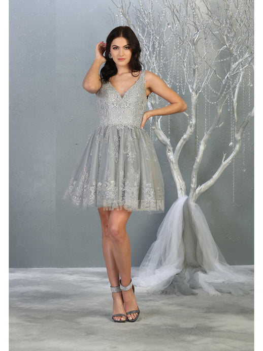 MQ 1817 - Tank Style Homecoming Dress with Glitter Embellishments & Tulle Skirt