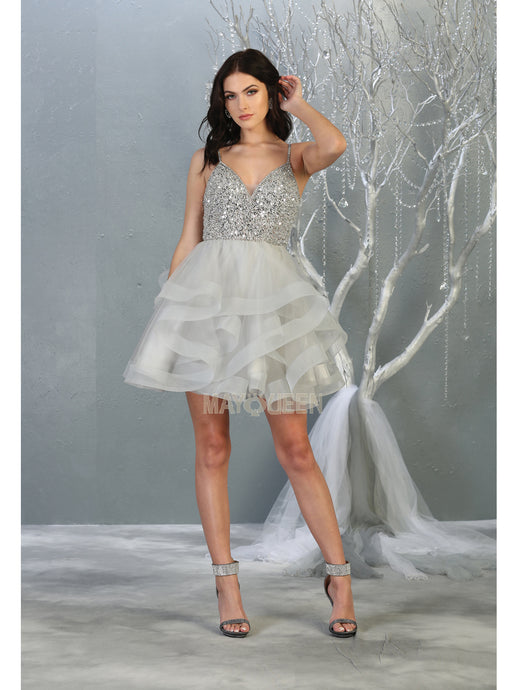 MQ 1818 - A-Line Homecoming Dress with Spaghetti Straps Beaded Bodice & Corset Back