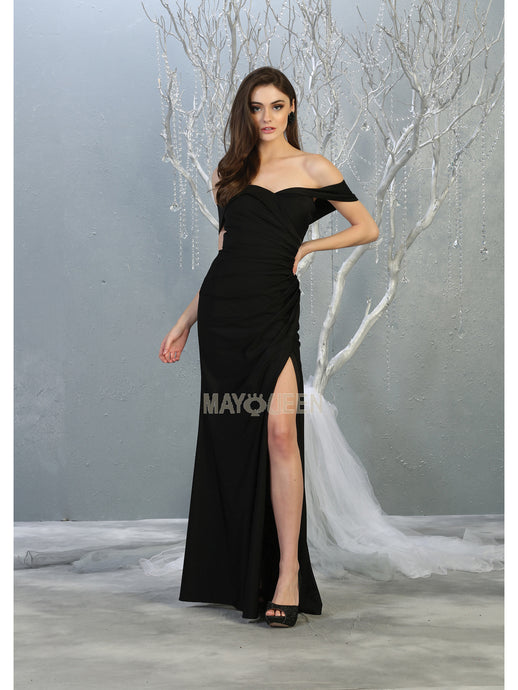 MQ 1825 - Off the Shoulder Prom Gown with Sweetheart Neckline & High Leg Slit