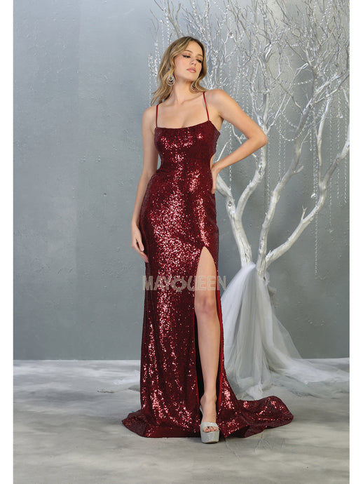 MQ 1826 - Glitter Prom Gown with Open Strappy Back & High Leg Slit