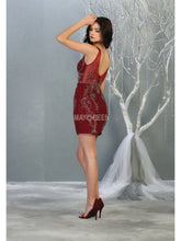 MQ 1828 - Fitted Tank Style Homecoming Dress with Applique & Open Back