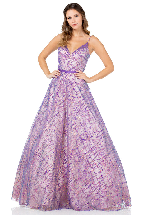 Diggz Prom BC MZ3471 - A-Line Sweetheart Glitter Pattern Ball Gown with Satin Belt and Spaghetti Straps - Diggz Prom