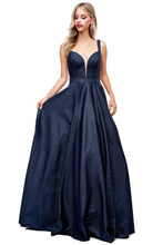 Diggz Prom BC MZ5168 - Deep V-Neck A-Line Glitter Ball Gown with Strappy Back and Side Pockets - Diggz Prom