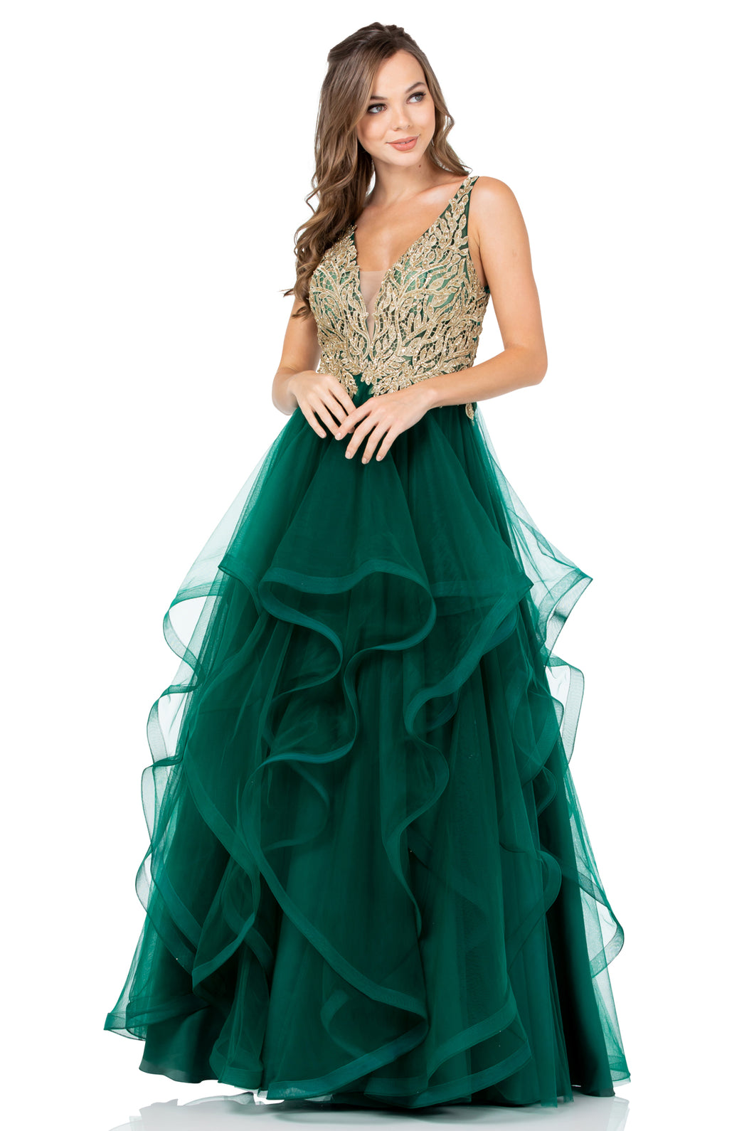 Diggz Prom BC PS2825 - A-Line Ruffle Ball Gown with Deep V-Neckline, Gold Applique and Open Back - Diggz Prom