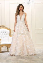 Mayqueen Size Chart E MQ 7609 - Full Lace Ballgown with Deep-V Neckline and Beaded Belt - Diggz Prom