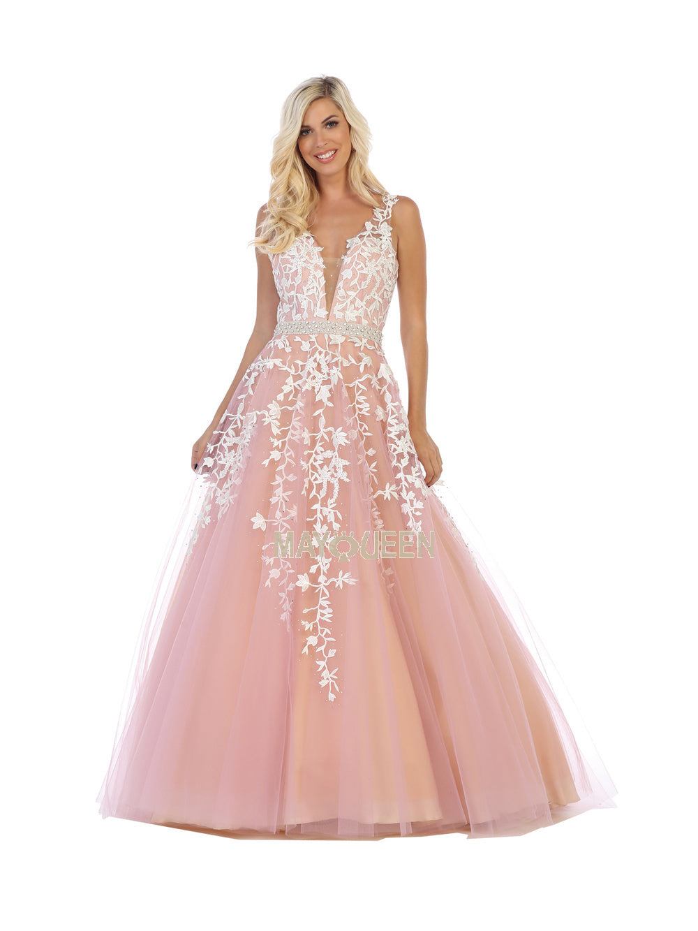 Mayqueen Size Chart E MQ 7613 - A-Line Embroidered Tulle Ball Gown - Diggz Prom