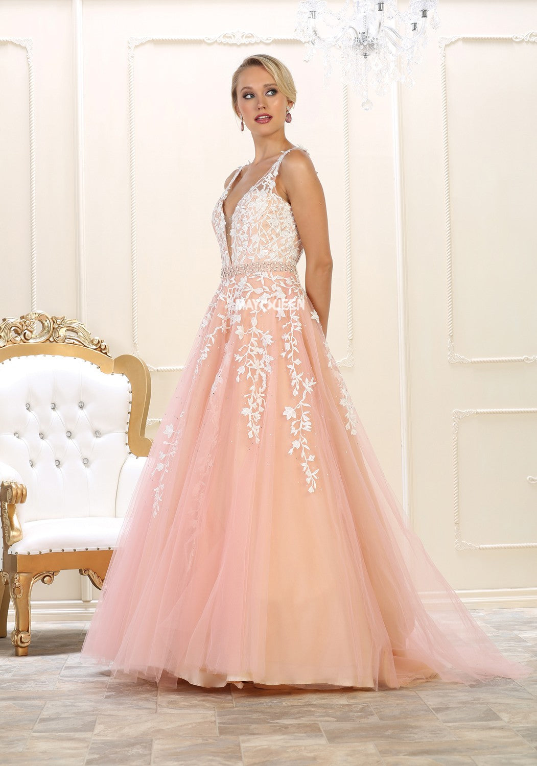 MQ 7613 - A-Line Embroidered Tulle Ball Gown – Diggz Prom