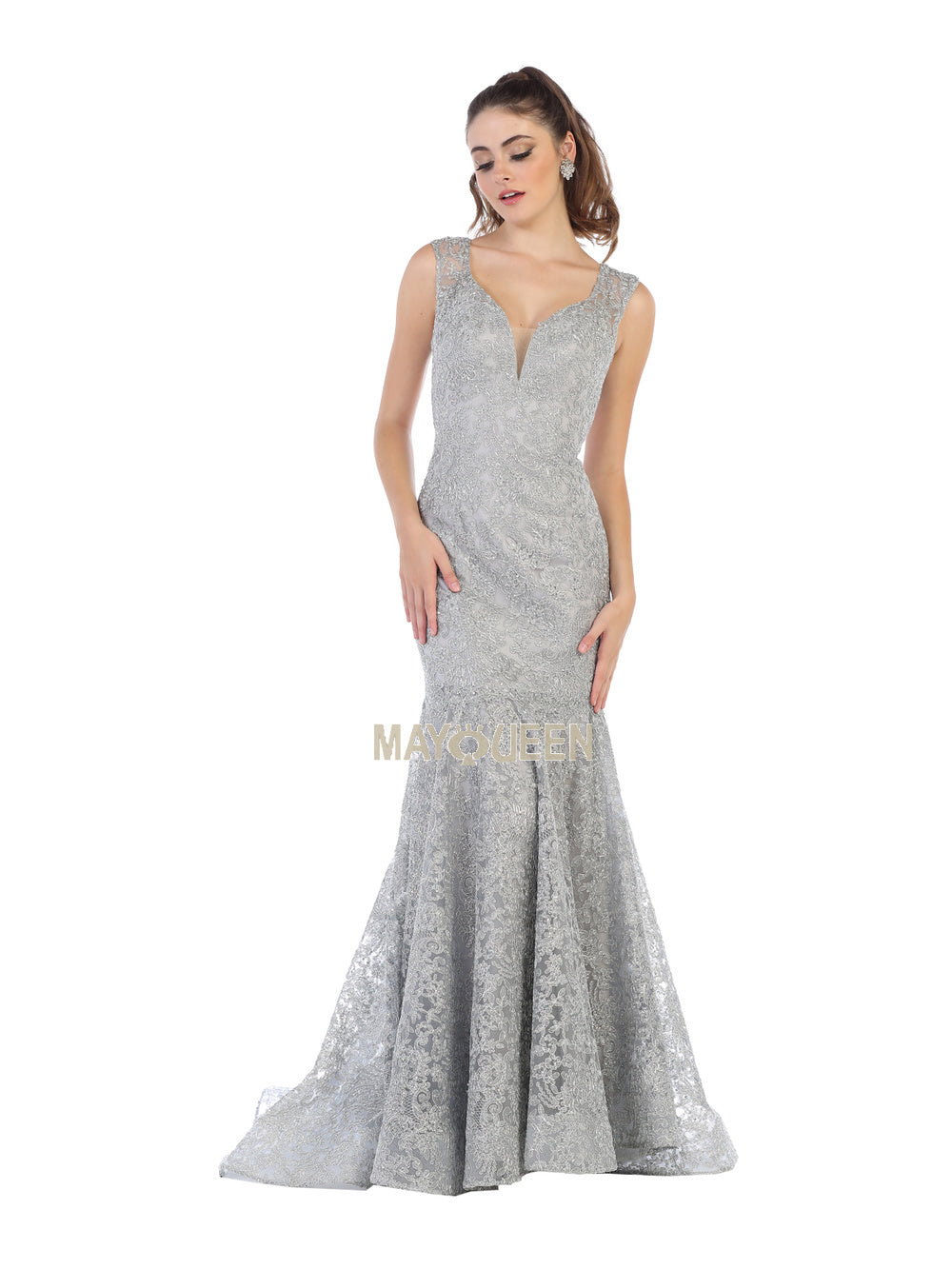 Mayqueen Size Chart E MQ 7635 - Embellished Plunging V-Neck Mermaid Dress - Diggz Prom