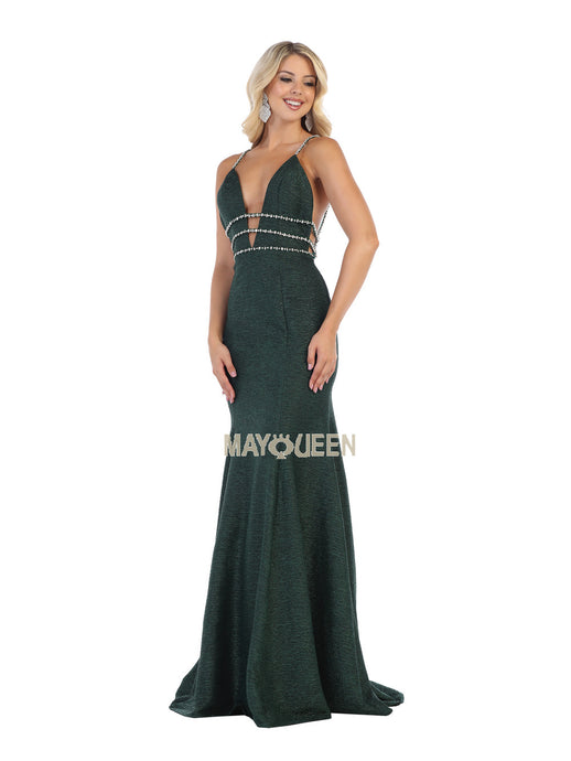 Mayqueen Size Chart E MQ 7638 - Deep-V Fit & Flare with Beaded Belt and Open Back - Diggz Prom