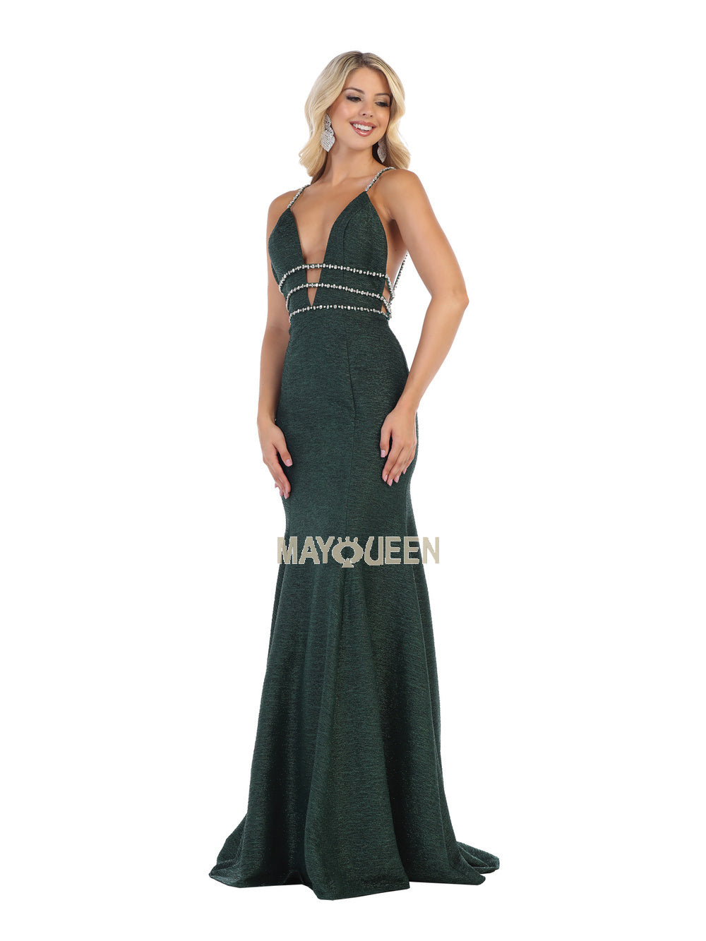 MQ 7638 - Deep-V Fit & Flare with Beaded Belt and Open Back - Diggz Prom
