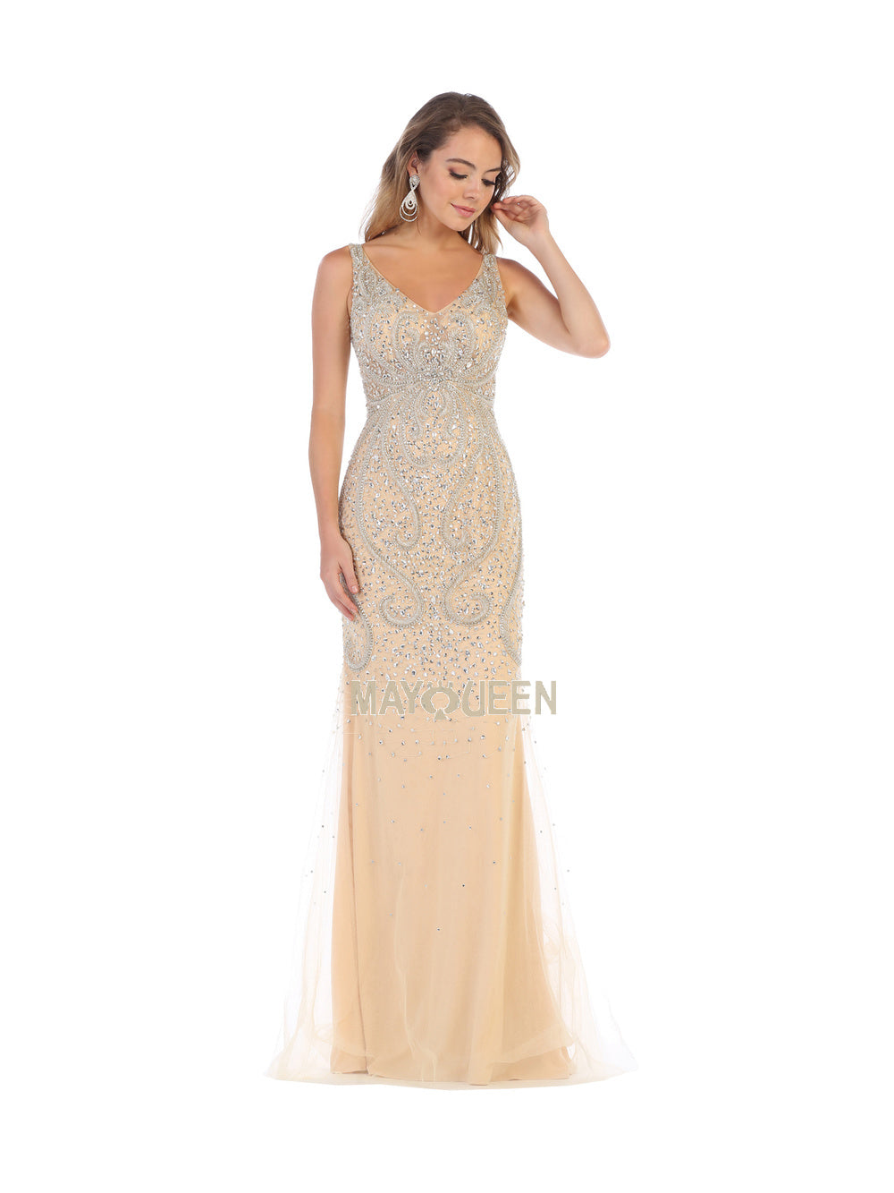 MQ 7650 - Embellished V-Neck Fitted Gown - Diggz Prom