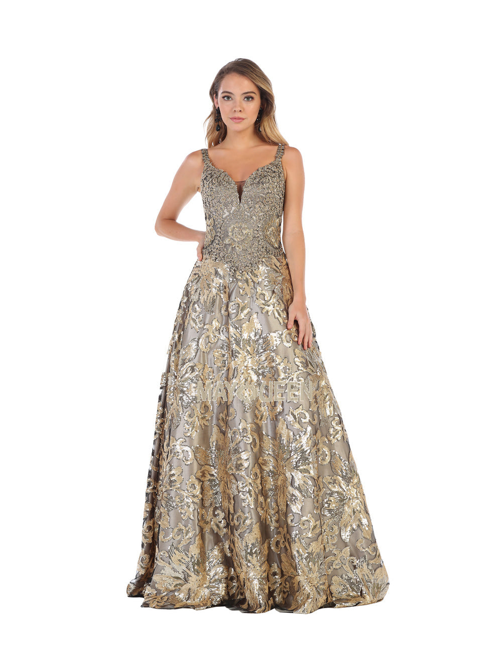 Mayqueen Size Chart E MQ 7655 - Sequin Wide V-Neck A-Line Long Dress with Lace Applique - Diggz Prom