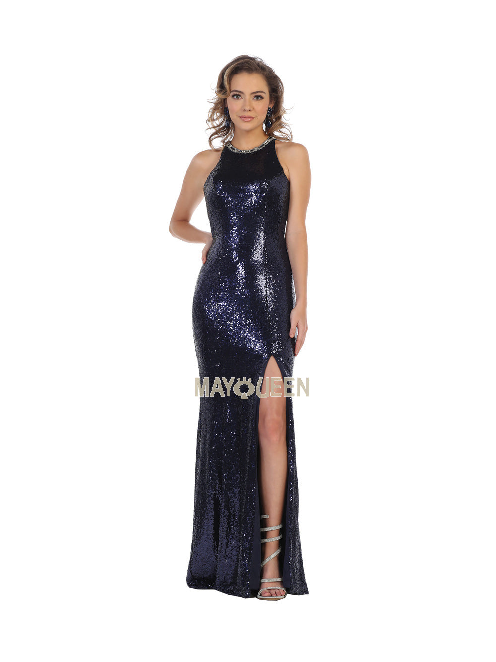 MQ 7656 - Crystal Trimmed Sequined High Slit Gown - Diggz Prom