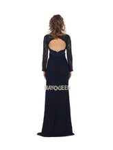Mayqueen Size Chart E MQ 7657 - Long Sleeve Embellished Gown with Cutout Back - Diggz Prom