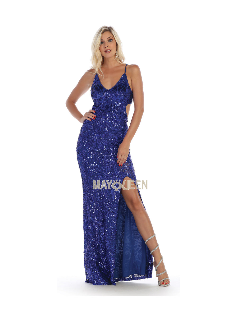 Mayqueen Size Chart E MQ 7665 - Full Sequin Dress with High Slit and Open Back - Diggz Prom