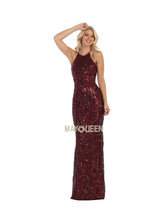 Mayqueen Size Chart E MQ 7667 - Sequin Damask Printed Halter with Strappy Back - Diggz Prom